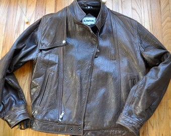 Vintage Brown Leather Motorcycle Jacket