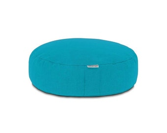 Round Meditation Yoga Pillow with buckwheat hull filling (Turquoise)