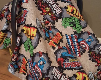 Custom Infant Carrier Cover Baby Boy Shower Gift Car Seat Canopy Tent Marvel Avengers Superhero Comic Book With Window