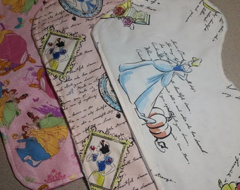 Disney Princess Burp Cloth / Contoured / Minky / Baby Shower Gift / Cinderella / Snow White / Belle / Rapunzel / Tiana / Sleeping Beauty