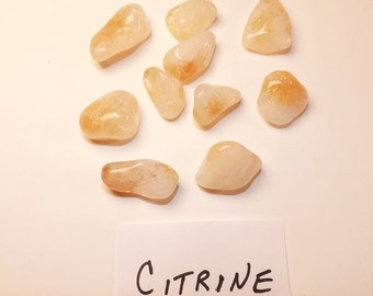 Natural Tumbled Citrine, Polished Citrine Stones, 8 to 10 stones per bag, Metaphysical, Religious, Cleansing, Smudging, Stone Supplies