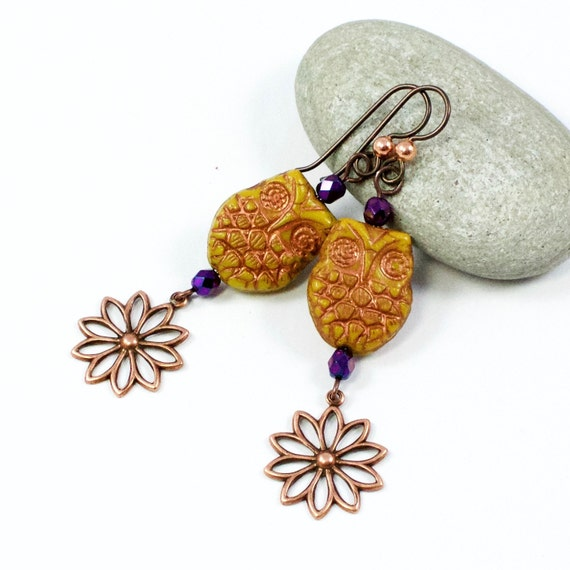 Owl Earrings, Orange Owl Earrings, Mustard Orange Earrings, Copper Owl Earrings, Owl Flower Earrings, Solana Kai Designs, Portland Oregon