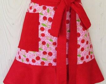 Pink Cherry Half Apron, Polka Dots, Cherries, Cherry, Vintage Style Waist Apron, KitschNStyle