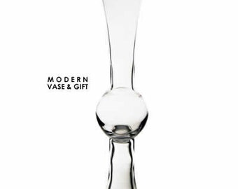 Tall 24 inches Trumpet Clear Reversible Glass Vase flare   #GTR161, Wholesale Pack of 4 pcs