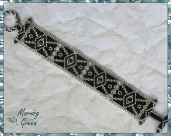 Black and Silver Peyote Bracelet, Black and Silver delica seed bead Bracelet