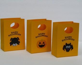 12 Happy Halloween Party  Favor Bag- Halloween Candy Bag - Halloween Treat Bag – Halloween Gift Bag – Boy/Girls Halloween Birthday Party Bag