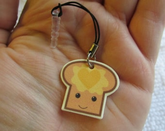 Toast with Butter Heart Cell Phone Charm