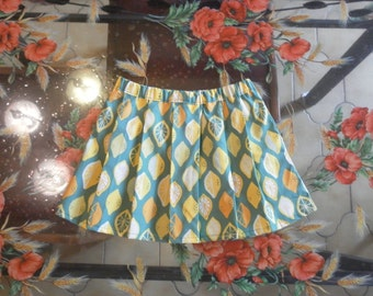 Pleated skirt 100% cotton organic lemons wit