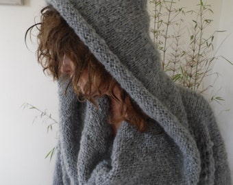 Sweater tube grey Mohair with wide collar, hood, one size, soft skin