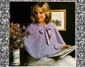 Vintage pretty shoulder-wrap Shrug knitting PDF pattern in instant download version