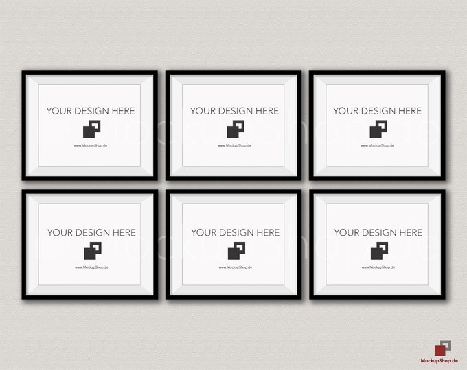 BLACK FRAME MOCKUP / 8x10 / Set of 6 horizontal Black Frame Mockup / Instand Download / download Frame Mockup / Empty Mockup Frame / Mockup