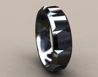 Items Similar To Mens Wedding Band Black Rhodium Plated Sterling Silver 6mm Satin Finish With