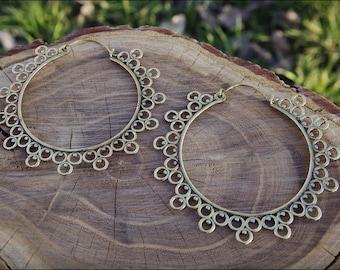 Bronze earrings. Hoop Earrings Ethnic Style. Tribal jewelry. Boho