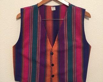 1990's Boho Southwestern Vest Multicolored Hipster Vest in Women's Eighties Vest in Size Medium Southwest Boho Chic Vest