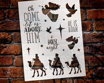 Let Us Adore Him Christmas Stencil - Select Size - STCL1361 - by StudioR12
