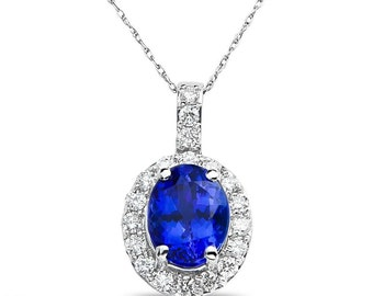 Ladies 5/8CT Diamond Pendant and chain with Tanzanite in 14k White Gold