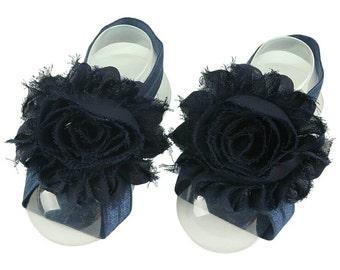 Navy Blue Barefoot Baby Sandals - Barefoot Sandals - Navy Blue Cake Smash - Newborn Photo Prop - Baby Sandals - Infant Sandals