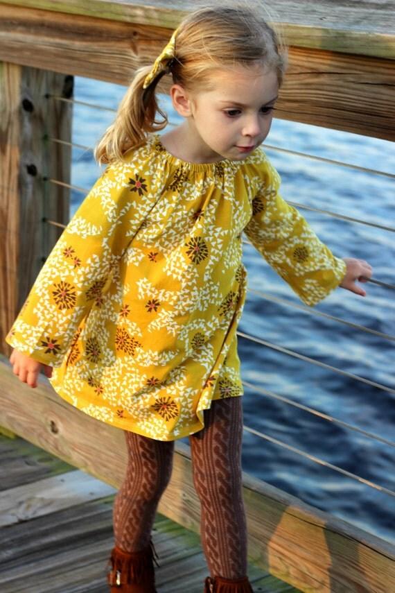Mustard Floral Long Sleeve Toddler Peasant Dress Long Sleeve Girl Dress Romper Fall Dress Thanksgiving Dress Floral Dress Mustard Floral
