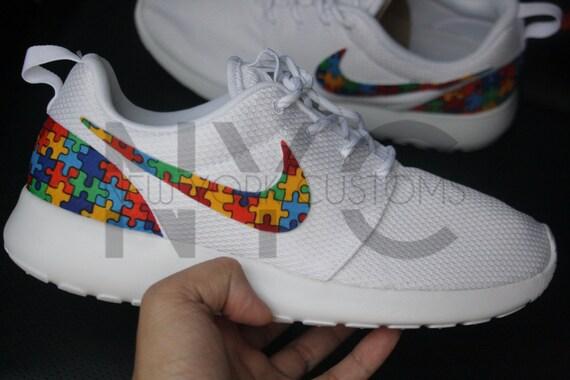 c8dc2dbf3eb hot sale Autism Awareness Nike Roshe Run Triple White Custom by NYCustoms