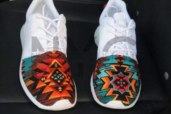 395facc3a4d Aztec Tribal Nike Roshe Run Triple White V5 Edition Custom low-cost ...