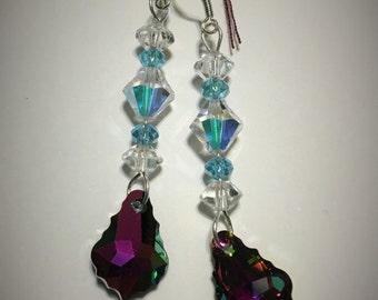 Watermelon and blue Swarovski dangle earrings