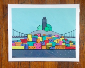 """Blue Coit tower 8""""x10"""" - Fine Art print -  San Francisco by Scampi in Sf"""