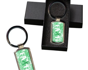 Liver Cancer Awareness Faith Ribbon Metal Keychain