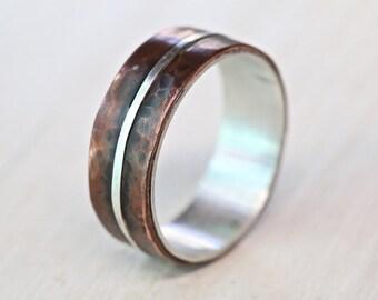 mens silver copper wedding band ring men engagement ring rustic wedding ring man - Wedding Ring Man