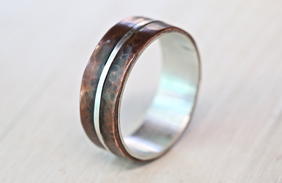 Mens Copper Wedding Rings Men39s Silver Copper Wedding Band Copper Engagement Ring