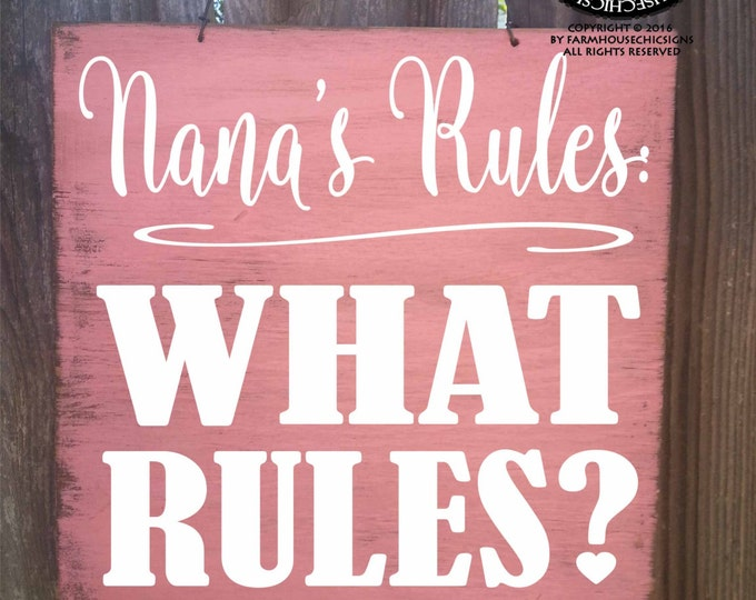nana, nana sign, nana's rules, nana gift, Christmas gift for nana, nana decor, nana decoration, nana rules