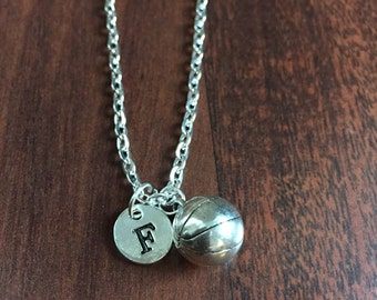 Basketball initial necklace, basketball jewelry, gift for basketball player, sports jewelry, bball necklace, silver necklace