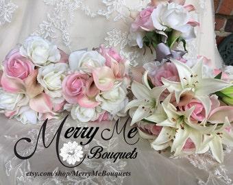 Lily Bouquets - Bouquet Package - Bridal Bouquet Package - Pink and White Bouquet Package - Real Touch Lily Bouquet - True Touch Lily Set