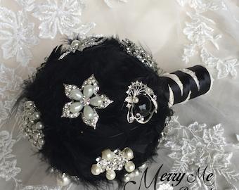 Black Feather Bouquet - Black Bouquet - Black Brooch Bouquet - Feather Brooch Bouquet - Black Feather Bouquet - Black Feather Brooch Bouquet