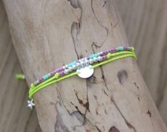 Bracelet 3in1 fluorescent yellow cord with silver beads and Miyuki beads model ~ YELLOW ~ friendship bracelet - Multi row bracelet