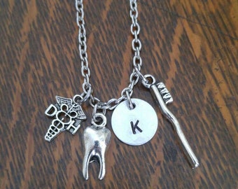 Dental initial charm necklace