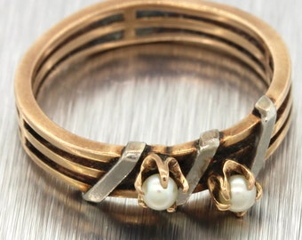 1870s Antique Victorian 14k Solid Rose Gold Seed Pearl Band Ring