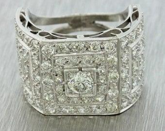 1920s Antique Art Deco Estate Women's Platinum 2.35ctw Diamond Cluster Ring