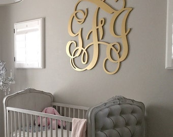 wooden monogram painted gold large wood monogram wall hanging letters nursery decor nursery wall art wedding guest book wooden sign