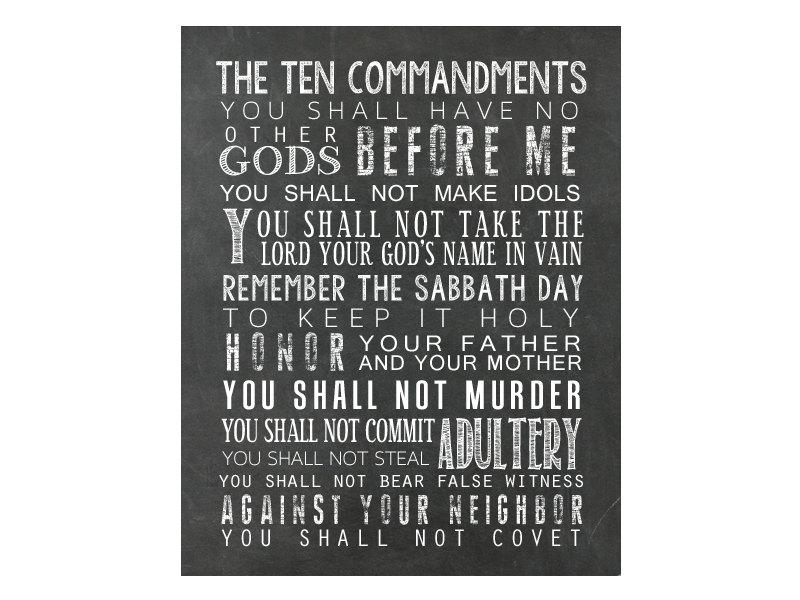 10 Commandments Bible Bible Verse Wall Art Exodus 20 Christian Wall ...