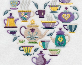 TEA TIME COLLAGE Teapots Teacups Arrangement Machine Embroidered Quilt Square, Art Panel