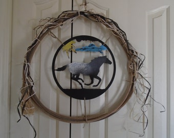 Western Rope with loping appaloosa horse