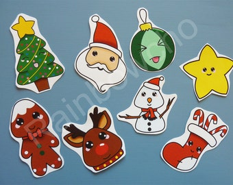 8 Christmas stickers