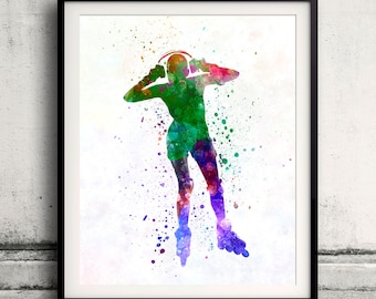 Woman roller skater inline 04 - Fine Art Print Glicee Poster Home Watercolor sports Gift Room Children's Illustration Wall - SKU 2254