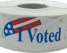 I Voted Stickers - 500 Total 2 x 1 Oval Labels - Apparel Safe Adhesive