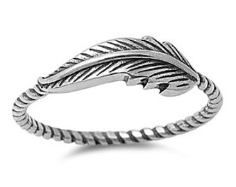 Sideway Feather Ring 6MM Sterling Silver 925