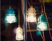 Antique Railroad Insulator Lamps x 2 - Hard Wired with Brass Canopies.