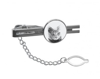 NEW! Chartreux - Tie pin with an image of a cat.