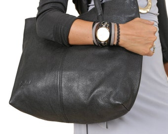 Leather Tote-Leather Shoulder Bag-Leather Tote in Black Color-Leather Tote bag-Shoulder Bag-BlackTote-Tote-Large Tote Bag