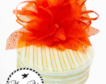 Creme and Orange Flower Party Hat