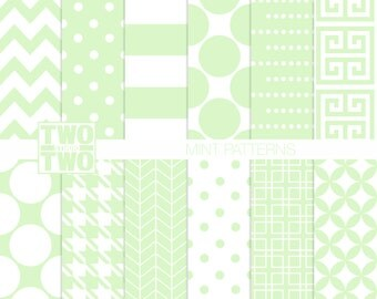 Mint Digital Paper: Striped, Dots, Greek Key, Chevron, Houndstooth, and Herringbone Patterns, Spring, Pastel Green Background